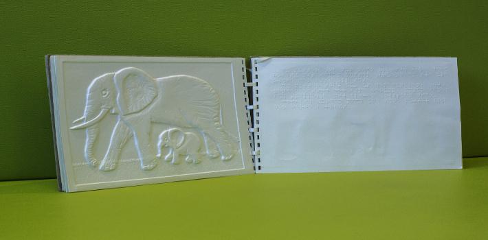 Aufgeschlagenes Buch in Braille-Schrift